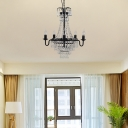 Traditional Candle Pendant Chandelier Metal Crystal Beaded 10 Light Ceiling Pendant in Black for Kitchen Dining
