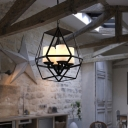 Geometric Cage Ceiling Chandelier Pendant Contemporary Iron Ceiling Chandelier with Milk White Glass Shade for Indoor