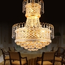 Gold Crystal Ball Ceiling Pendant Lights Modern Metal 8 Heads Dining Room Ceiling Lights