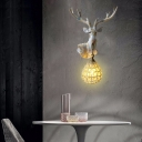 Painted Deer Wall Mount Light with Amber Crystal Bead Single Head Village Wall Lighting