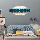 Nordic Drum Pendant Lighting Height Adjustable Metal Art Deco Chandelier Lamp