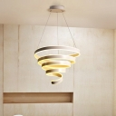Contemporary Spiral Pendant Lamp Metal Integrated Led White Ceiling Pendant for Home