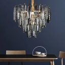 Contemporary Tiered Chandelier Light Clear Crystal 8 Lights Decorative Suspension Light