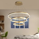 Multi Light Round Chandelier Light Modern Metal Gold Hanging Ceiling Light with Acrylic Diffuser