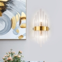 Titanium Gold Wall Mounted Lights Contemporary Stainless Steel and Crystal 1 Head Sconce Light Fixture for Indoor