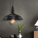 Black Barn Hanging Light Fixtures for Dining Table, Vintage Iron 1 Light Plug in Pendant Lights
