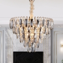 Smoked Crystal Pendant Chandelier for Bedroom, Novelty Metal 8 Light Hanging Chandelier