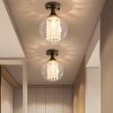 Black Crystal Bead Semi Flush Mount Lighting Contemporary Glass Metal 1 Head Semi Flush Light for Indoor