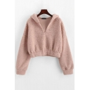 Plain V-Neck Fluffy Drop Shoulder Pink Crop Teddy Hoodie