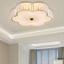 6 Light Floral Ceiling Lights Modern Acrylic Gold Flush Mount Ceiling Lights for Bedroom Living Room
