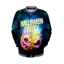 Halloween Party 3D Pumpkin Printed Rib Stand Collar Long Sleeve Unisex Baseball Jacket