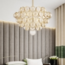 Modern Round Hanging Pendant Light with Glass Ball Multi Light Gold Chandelier Lamp for Living Room