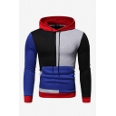 Men's Unique Creative Colorblock Print Long Sleeve Casual Relaxed Pullover Drawstring Hoodie