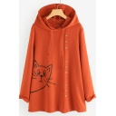 Cartoon Cat Pattern Button Embellished Long Sleeve Loose Hoodie