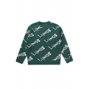 LYMOS Print Round Neck Long Sleeve Green Pullover Sweater