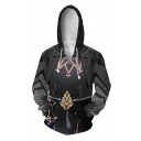 Hot Popular Game Theme Chic Long Sleeve Black Hoodie With Pockets