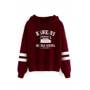 Popular Letter HAWKINS MIDDLE SCHOOL Print Striped Long Sleeve Casual Fitted Hoodie