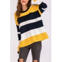 Ladies Trendy Casual Off-Duty Colorblock Print Round Neck Long Sleeve Chenille Sweater
