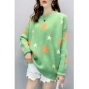 Ladies Cute Star Print Round Neck Drop Sleeve Laid Back Sweater
