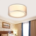 Drum Fabric Ceiling Light Living Room Contemporary Ceiling Light Fixture in Coffee/Silver