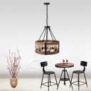 6 Bulbs Basket Shade Hanging Lamp Industrial Style Pendant Lamp in Black for Cafe Living Room