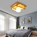 1/4/9 Light Square Shade Flush Mount Light Modern Wood Ceiling Light Fixture for Living Room