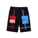 Guys Cool Unique Color Block Flap Pocket Front Black Sport Active Shorts