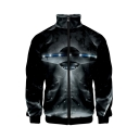 Hot Trendy 3D Galaxy Alien Printed Stand Up Collar Long Sleeve Zip Up Jacket