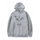 Cool XXX Figure Face Printed Long Sleeve Relaxed Fit Hoodie