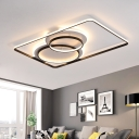 Double Circle Living Room Flush Ceiling Lights Metal LED Minimalist Flush Lighting in Black/White