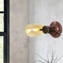 2 Light Wall Mounted Lamps Steampunk Iron and Amber Glass Sconce Wall Lights for Bedside