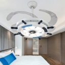 Coastal Ceiling Lamp Wood and Acrylic 8 Light Ceiling Light Fixtures with Fans for Bedroom