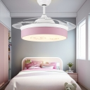Round Cartoon Ceiling Fixture Modern Acrylic Metal 1-Light Fan Light for Living Room Bedroom Kids Room