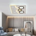 Modern Round/Square with Hexagon Design Ceiling Light Acrylic LED White Indoor Flush Mount