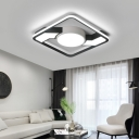 Black and White Combination Square/Rectangle Ceiling light Modern Metal Flush Mount for Bedroom