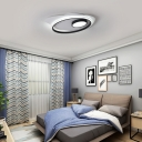 Metal Ellipse Ceiling Light Living Room LED Modern Acrylic Flush Mount Fixture in Black and White