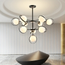 2 Tiers Globe Chandelier Light Modern Opal Glass Ceiling Light with Hanging Rod