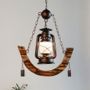 Nautical Lantern Pendant Lamps Metal 1 Head Frosted Glass Hanging Ceiling Lights for Restaurant