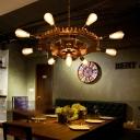 9 Heads Pendant Chandelier Vintage Iron Gear Hanging Light Fixtures for Restaurant Kitchen Table