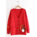 Lovely Cartoon Totoro Pattern V Neck Long Sleeve Buttons Down Comfort Cardigan
