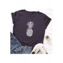 Leisure Pineapple Pattern Round Neck Short Sleeve Casual Loose Summer T-Shirt