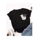 Cartoon Cute Cat Pattern Round Neck Short Sleeve Casual Loose Summer Tee