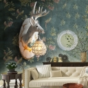 Resin Deer Wall Mounted Light Village Style 1 Bulb Living Room Wall Sconce Light