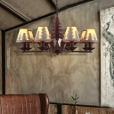 Creative Deer and Tree Ceiling Chandelier Pendant Contemporary Iron and Fabric Shaded Ceiling Chandelier for Restaurant