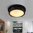 Black Round Flush Mount Modern Metal Glass Flush Mount Ceiling Light for Bedroom Living Room