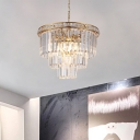 Modern 3-Tier Chandelier Light Metal Crystal Fringe Hanging Chandelier Light with Adjustable Chain