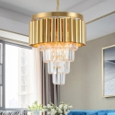 Gold Tube Hanging Pendant Lights Modern Multi-Tier Crystal Hanging Chandelier for Living Room