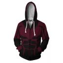 Fashion Red and Black Comic Cosplay Costume Long Sleeve Zip Up Hoodie