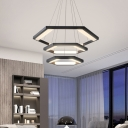 Metal Hexagon Ceiling Pendant Light Contemporary Integrated Led Black Chandelier