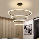 Acrylic Ring Hanging Pendant Light Contemporary Integrated Led Black Chandelier Light